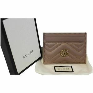 GUCCI GG Marmont Leather Card Case Taupe 443127